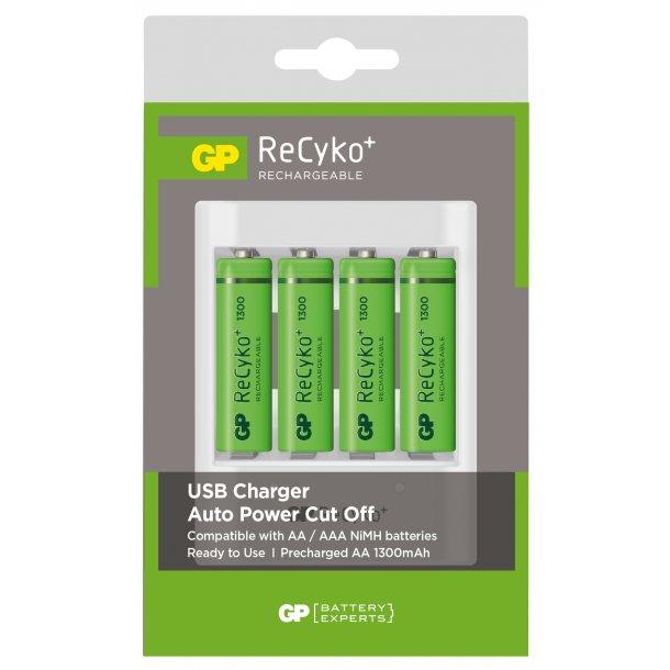 GP USB-lader, U411, AAAAA, inkl. 4 stk. ReCyko 1300 mAh AA-batteri