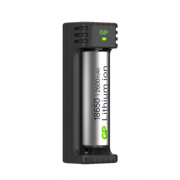 GP Li-ion batterilader, L111, inkl. 1 stk. 18650-batteri
