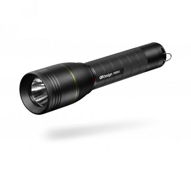 GP Design oppladbar lommelykt Castor, PSR51, 1-470lm