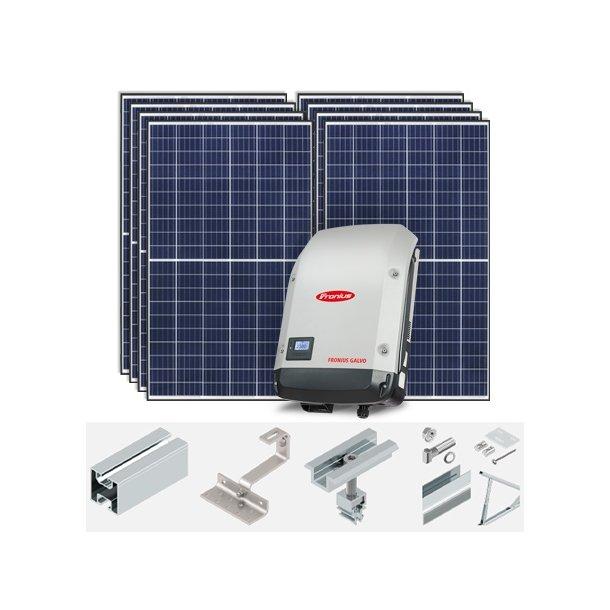 Komplett 2,36kWp* solcelleanlegg til hus og fritidsbolig.Standard