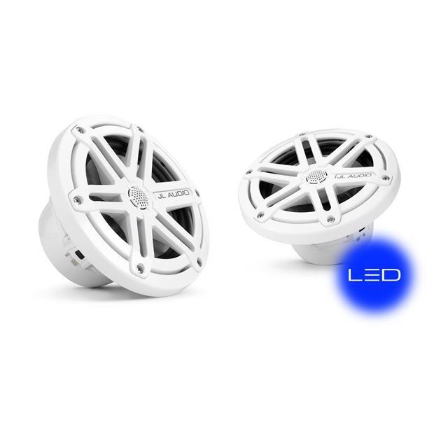 JL Audio MX650 marine høyttalere m/LED Hvit Sportsgrill med blå LED-belysning