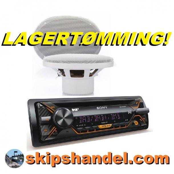 LAGERTØMMING! SONY DAB+/CD m/antenne og 6X9''marinehøyttalere
