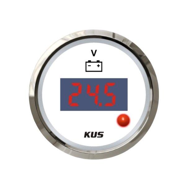 KUS DIGITALT VOLTMETER 8-32  Hvit m/blank ring