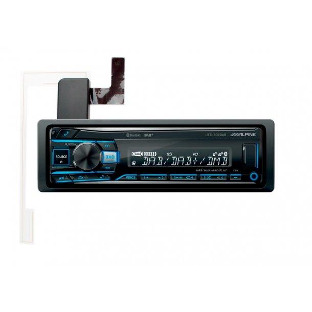 Alpine UTE-204DAB hovedenhet m/antenne 4x50W DAB+ Bluetooth USB AUX