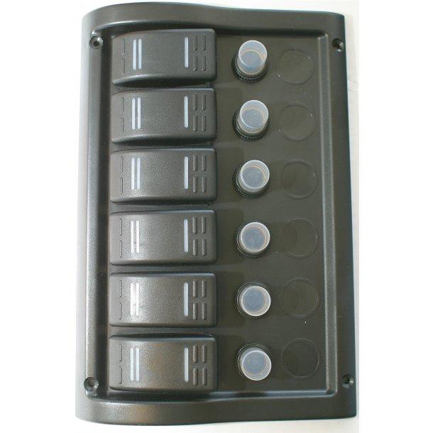 Bryterpanel 6 brytere m/automatsikringer